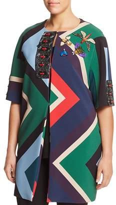 Marina Rinaldi Nelson Embellished Geo-Print Coat