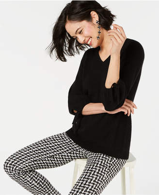 Charter Club Pure Cashmere V-Neck Tie-Sleeve Sweater in Regular & Petite Sizes, Created for Macy's