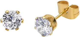 JCPenney FINE JEWELRY Cubic Zirconia 6mm Stainless Steel and Yellow IP Stud Earrings