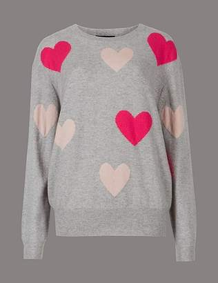 Marks and Spencer Pure Cashmere Oversized Heart Print Jumper
