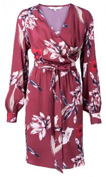 Ya-Ya Wrap Dress - Red Floral Print - Size 34 | viscose | burgundy - Burgundy