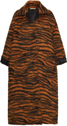 Bottega Veneta Zebra Stripe Oversized Fur-Blend Coat