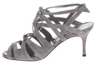 Manolo Blahnik Suede Wrap-Tie Sandals