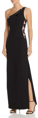 BCBGMAXAZRIA Sequin-Embellished One-Shoulder Gown