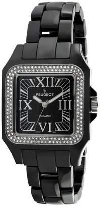 Peugeot Women's PS4897BK Swiss Ceramic Swarovski Crystal Black Dial Watch