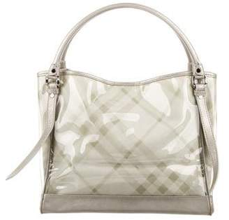 Burberry Leather-Trimmed Lawrence Tote