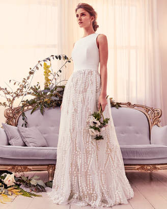 Ted Baker SILVYA Floral embroidered maxi dress with train