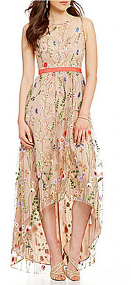 Adrianna Papell Sleeveless Embroidered Tulle High-Low Gown $299 thestylecure.com