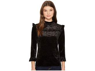 Blank NYC Black Crush Velvet Ruffle Turtleneck in Spark It Women's Clothing