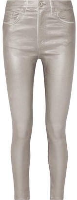 Rag & Bone Metallic Coated High-rise Skinny Jeans - Silver