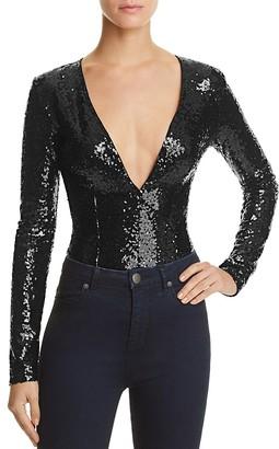 Rehab Deep V-Neck Sequin Bodysuit $78 thestylecure.com