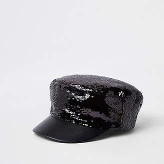 River Island Womens Black sequin baker boy hat