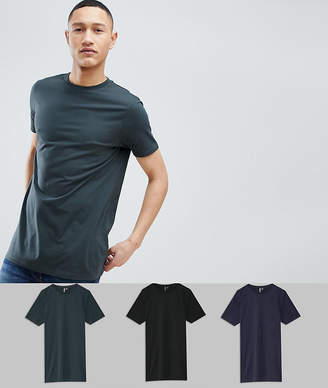 Asos DESIGN Longline T-Shirt With Crew Neck 3 Pack