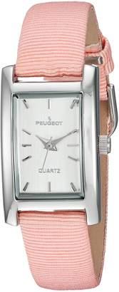 Peugeot Women's Classy Silver H Rectangle Case Watch Nylon Canvas Pastel Peach Band 3008SPC