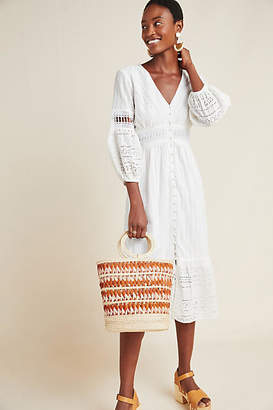 Anthropologie Ebba Eyelet Midi Dress