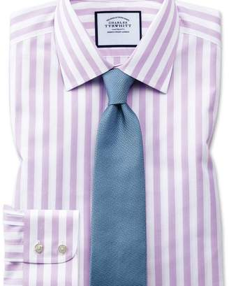 Charles Tyrwhitt Extra slim fit non-iron purple wide bengal stripe shirt