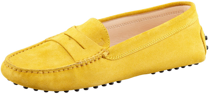 Tod's Suede Gommini Moccasino, Yellow