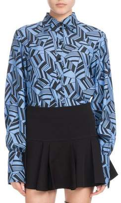 Chloé Long-Sleeve Button-Front Geometric-Print Silk Crepe de Chine Blouse