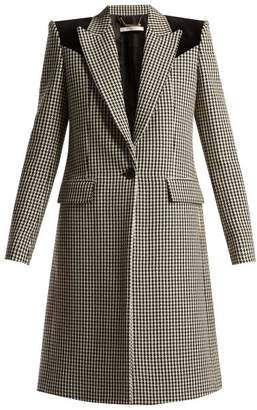 Givenchy Panelled Houndstooth Wool Coat - Womens - Black White