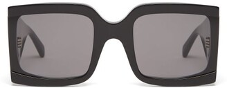 Celine Wide Arm Square Acetate Sunglasses - Womens - Black