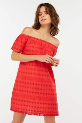 Accessorize Womens Red Off Shoulder Schiffli Dress - Red