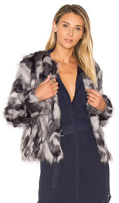 Tularosa x REVOLVE Averly Faux Fur Coat on Grey & Black in Gray $298 thestylecure.com