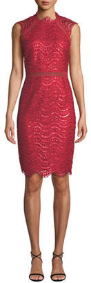Saylor Sequin Scallop Lace Open-Back Midi Dress