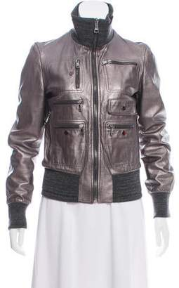 Dolce & Gabbana Metallic Leather & Knit Jacket