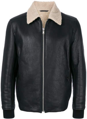 Theory contrast collar shearling jacket