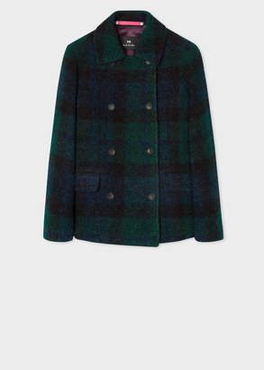 Paul Smith Women's Blackwatch Tartan Boucle Pea Coat
