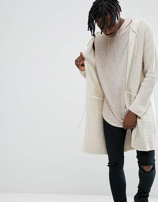 Asos Knitted Textured Parka Jacket In Oatmeal
