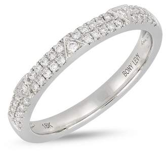 Bony Levy 18K White Gold Diamond Detail Tringle Accent Ring