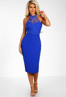 5778f6163d0 Pink Boutique Toxic Beauty Cobalt Blue Crochet Detail Bodycon Midi Dress