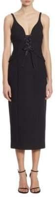 Demia Lace-Up Corset Midi Dress
