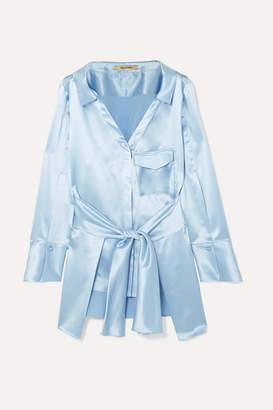 bd1eabc223e37b Hellessy Clark Belted Silk-satin Shirt - Light blue