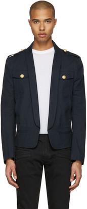 Balmain Navy Shawl Collar Military Blazer $2,150 thestylecure.com