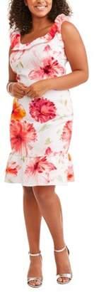 Paperdoll Women's Plus Off Shoulder Floral Print Fluted Skirt Dress