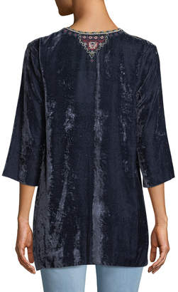 Johnny Was Cherelle Embroidered Velvet Tunic