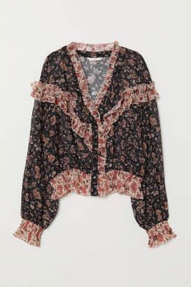 H&M V-neck Ruffled Blouse - Red