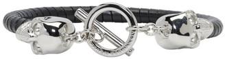 Alexander McQueen Black T-Bar Skull Bracelet $295 thestylecure.com