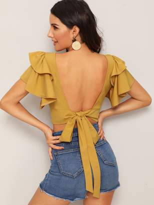 Shein Tiered Layered Tie Open Back Crop Blouse