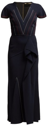 Roland Mouret Bates Ruffled Crepe Dress - Womens - Navy Multi
