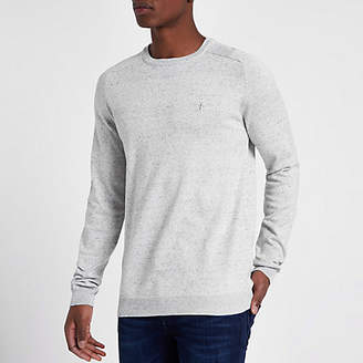 River Island Grey slim fit crew neck sweater