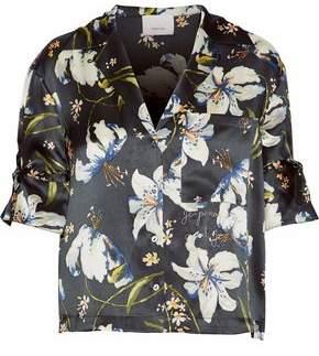 Cinq à Sept Juno Embroidered Floral-Print Silk-Satin Blouse