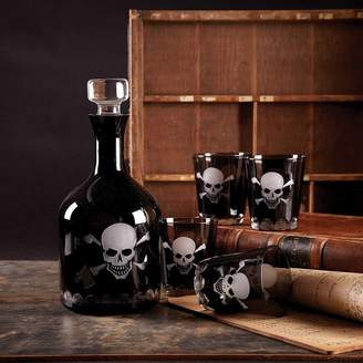 Ella James Black Skull Glass Decanter And Tumblers