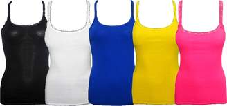 love to love clothing Women's Back Lace Tank Top 5 Pack