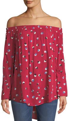 Velvet Heart Whisper Floral-Print Off-the-Shoulder Blouse