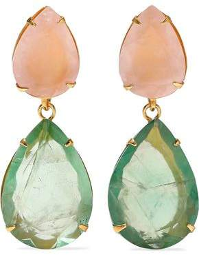 Bounkit Convertible Gold-Tone Quartz And Fluorite Earrings