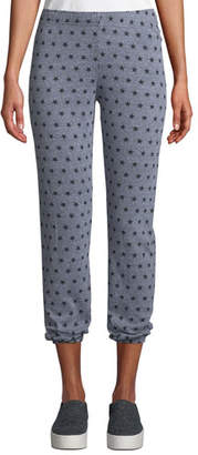 Monrow Heathered Star-Print Cropped Sweatpants