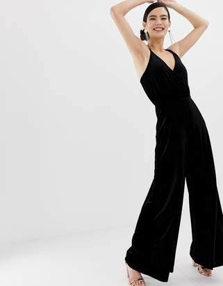 Miss Selfridge wide leg jumpsuit in black velvet